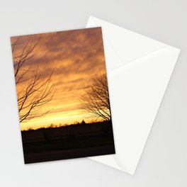 Sunset with 2 Trees Stationery Cards