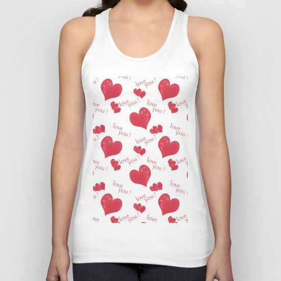 Abstract pattern with red hearts on a white background Unisex Tank Top