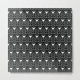 Seamless black pattern with many  small black leaves Metal Print