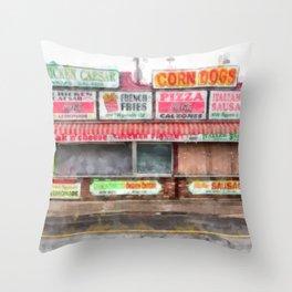 Big Steve's Italian Sausage Hampton Beach Boardwalk Throw Pillow