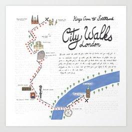 Kings Cross to Southbank - City Walk Art Print