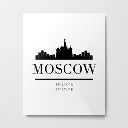 MOSCOW RUSSIA BLACK SILHOUETTE SKYLINE ART Metal Print