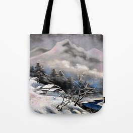Winter village in the mountains Tote Bag