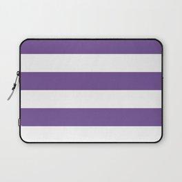 Horizontal Stripes - White and Dark Lavender Violet Laptop Sleeve