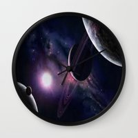 outer space Wall Clocks featuring OUTER SPACE by Dav-idz- Art- Gallery