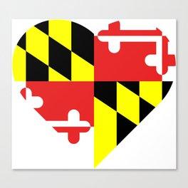 Maryland Flag Heart Canvas Print