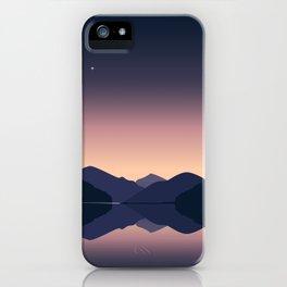 Mountain sunset reflection iPhone Case