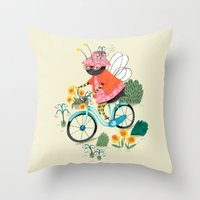 bee Throw Pillows featuring Bee by ilana exelby