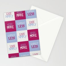 Live Simply, Give More, Expect Less Stationery Cards