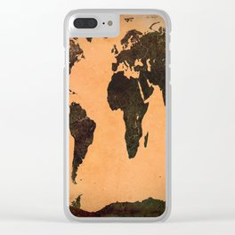 Grungy Abstract World Map Clear iPhone Case