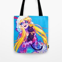 bunny Tote Bags featuring bunny by barachan