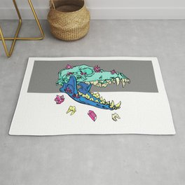Candy Crystal Coyote Skull Rug