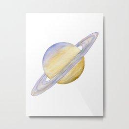 Planet Saturn Watercolor Painting Metal Print