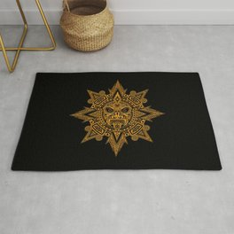 Ancient Yellow and Black Aztec Sun Mask Rug