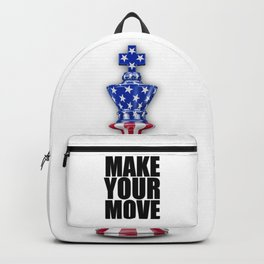 Make Your Move USA / 3D render of chess king with American flag Backpack