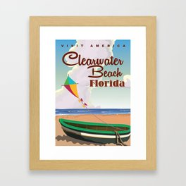 Clearwater Beach Florida vintage travel poster print Framed Art Print