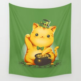 Irish Lucky Cat Wall Tapestry