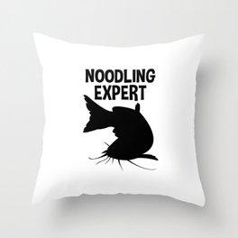 Noodling Expert T Shirt Catfish Fishing Hands Only Throw Pillow