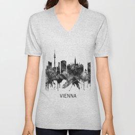 Vienna Austria Skyline BW Unisex V-Neck