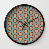 iron maiden Wall Clocks featuring IRON by FISHNONES
