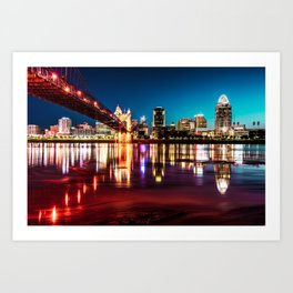 Morning Skyline Reflections of Cincinnati Ohio Art Print