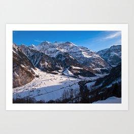 Winter Klausen Pass Switzerland Snow mountains Art Print