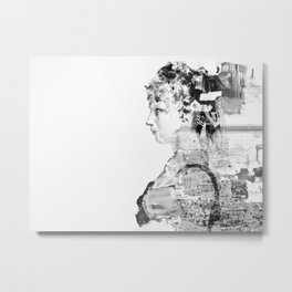 Painted photo of a female in black and white Metal Print