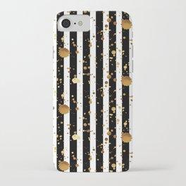 Stripes & Gold Splatter iPhone Case