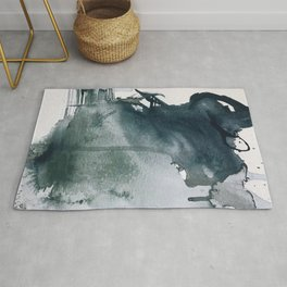Lakeside: a minimal, abstract, watercolor and ink piece in shades of blue and green Rug