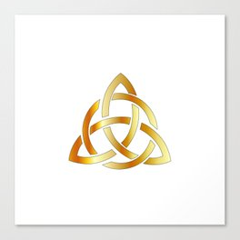 Golden triquetra celtic cross-3 point Celtic Trinity knot Canvas Print