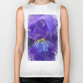 Purple Iris Watercolor Biker Tank
