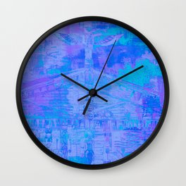 Totem Pole Cabin Abstract - Blues & Purples Wall Clock