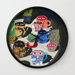 Suspicious mugs Wall Clock