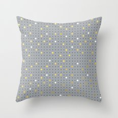 Pin Points Grey, Gold and White Throw Pillow
