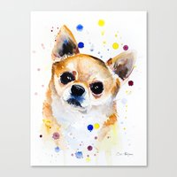 chihuahua Canvas Prints featuring Chihuahua by Slaveika Aladjova
