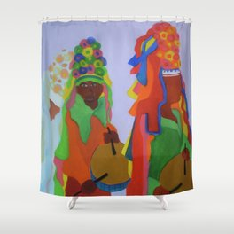 Festa do Rosario, Colorful Art, Brazil, Parade, Headdress and Drums Shower Curtain