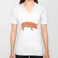 bacon V-neck T-shirts featuring bacon by nino benito