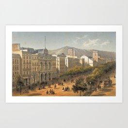 Deroy & Becquet - Vista de la Rambla y del Teatro del Liceo (1800) Art Print
