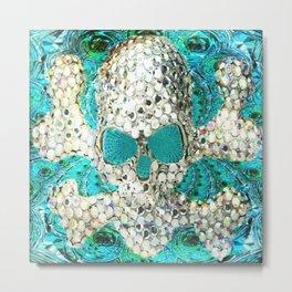 Blingy Blingy Blue Skull Thingy Metal Print