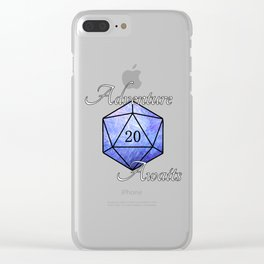Adventure Awaits - D20 Tabletop Roleplaying Die Clear iPhone Case