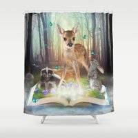 roald dahl Shower Curtains featuring Believe In Magic • (Bambi Forest Friends Come to Life) by soaring anchor designs