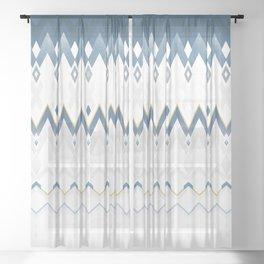 Icelandica Pattern Blue Sheer Curtain
