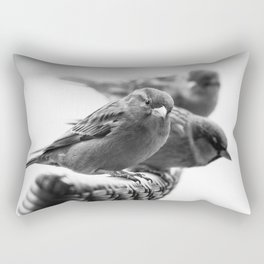 Sparrows On Chair Back Rectangular Pillow