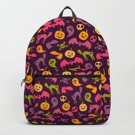 Neon Halloween Pattern - Purple Background Backpack