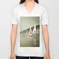 sailing V-neck T-shirts featuring Sailing by JMcCool