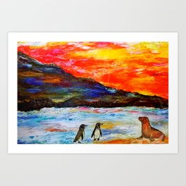 Beautiful Penguins With Sea Lion By The Blue Ocean Painting Kunstdrucke