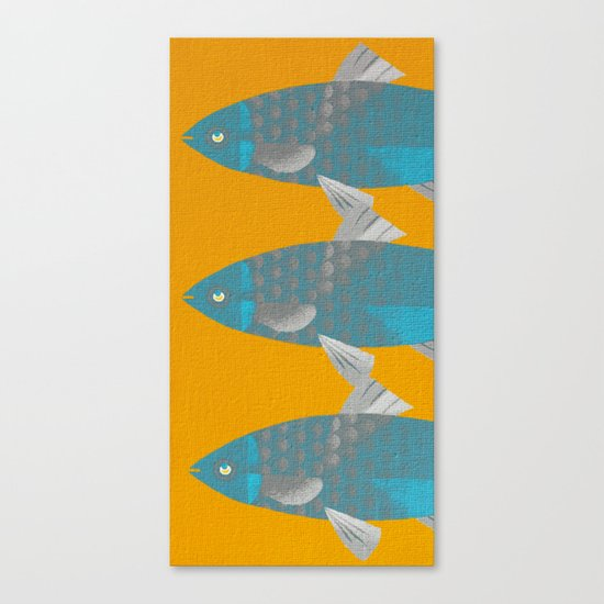 Blue Fish on a Yellow River Canvas Print