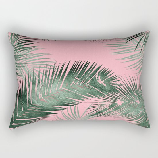 pinK!, tropical leaves!! Rectangular Pillow