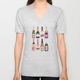 French Champagne Collection – Pink & Green Unisex V-Neck