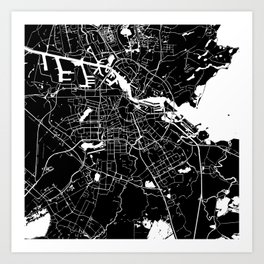Amsterdam Black on White Street Map Art Print